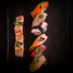 Нигири сет със сашими хамачи